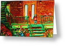 Reading On The Steps Greeting Card