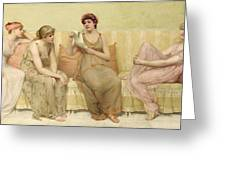Reading The Story Of Oenone Greeting Card by Francis Davis Millet
