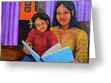 Reading With Mom Greeting Card