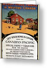Ready Made Farms In Western Canada - Canadian Pacific - Retro Travel Poster - Vintage Poster Greeting Card
