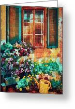 Ready To Water The Garden Oil Painting Greeting Card
