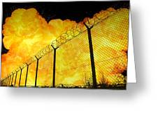 Realistic Fiery Explosion Behind Restricted Area Barbed Wire Fence Greeting Card