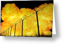 Realistic Orange Fire Explosion Behind Restricted Area Barbed Wire Fence, Blurred Background Greeting Card