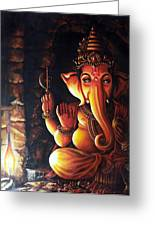 Portrait Of Lord Ganapathy Ganesha Greeting Card
