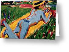 Reclining Blue Nude With Straw Hat Greeting Card