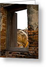 Reclining Buddha View Through A Window Greeting Card