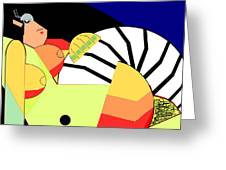 Reclining Nude In Blue And Red Greeting Card
