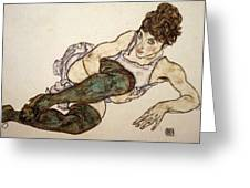 Reclining Woman With Green Stockings Greeting Card
