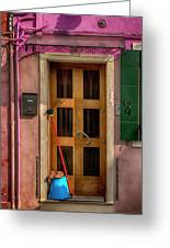 Rectangle Iterations Door Broom And Bucket_dsc5127_03042017 Greeting Card