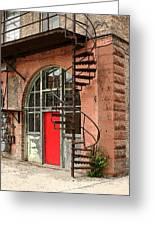Red Alley Door Greeting Card by Steve Augustin