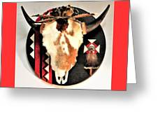 Red And Black Buffalo Design Greeting Card