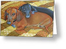 Red And Black Dachshunds - Best Buds Greeting Card