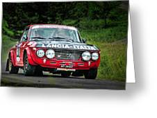 Red And Black Lancia Fulvia Greeting Card