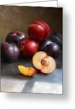 Red And Black Plums Greeting Card