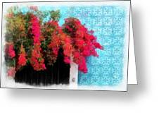 Bouganvillea And Blue Azulejos Greeting Card