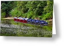 Red And Blue Boats On The River Coquet Greeting Card