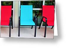Red And Blue Chairs Greeting Card