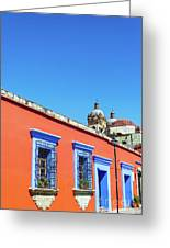 Red And Blue Colonial Architecture Greeting Card