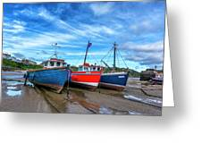 Red And Blue Fishing Boats Tenby Port Greeting Card