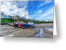 Red And Blue Fishing Trawler In Low Tide Greeting Card