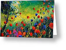 Red And Blue Poppies  Greeting Card