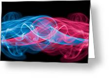 Red And Blue Smoke Greeting Card