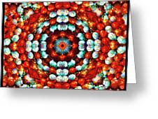 Red And Blue Stones Greeting Card