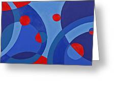 Red And Blue Worlds Greeting Card