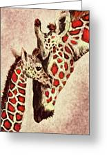 Red And Brown Giraffes Greeting Card