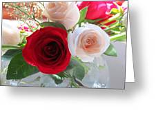 Red And Cream Tea Roses In Crystal Greeting Card