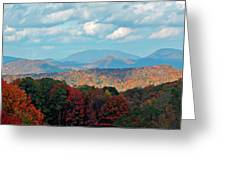 Red And Green Blue Ridge Mountains Greeting Card