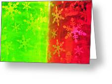 Red And Green With A Snowflake Pattern Greeting Card