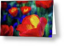 Red And Orange Tulips Greeting Card