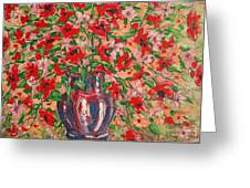 Red And Pink Poppies. Greeting Card