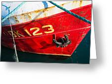Red And White Boat Detail Greeting Card