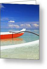 Red And White Canoe Greeting Card