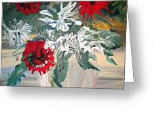 Red And White Flowers By Ralph Greeting Card