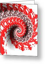 Red And White Fractal Greeting Card