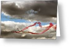 Red And White Ribbon Greeting Card