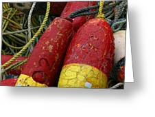 Red And Yellow Buoys Greeting Card by Carol Leigh