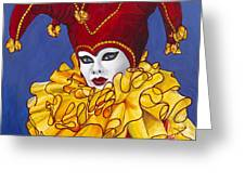Red And Yellow Carnival Jester Greeting Card