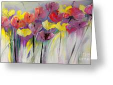 Red And Yellow Floral Field Painting Greeting Card