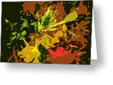Red And Yellow Flowers Abstract Greeting Card