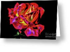Red And Yellow Rose Fractal Greeting Card
