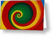 Red And Yellow Swirl Greeting Card