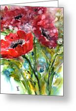 Red Anemone Flowers Greeting Card