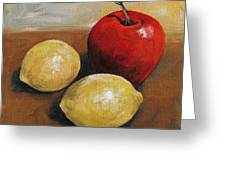 Red Apple And Lemons Greeting Card