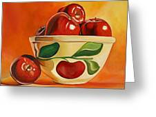 Red Apples In Vintage Watt Yellowware Bowl Greeting Card