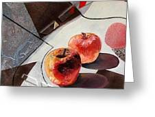 Red Apples On A Flat Vase Greeting Card