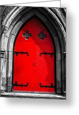 Red Arched Door Greeting Card